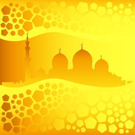 eastern spirituality: Golden mosque silhouette and transparent pentagons pattern