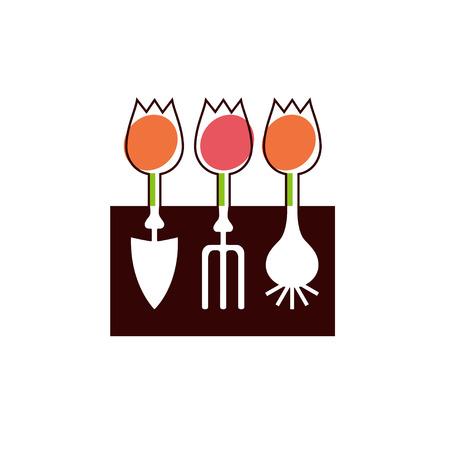 hayfork: Shovel, hayfork, bulb and tulips flowers garden tools company  design