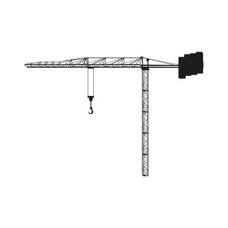 mounting: Building tower crane with hook black silhouette Illustration