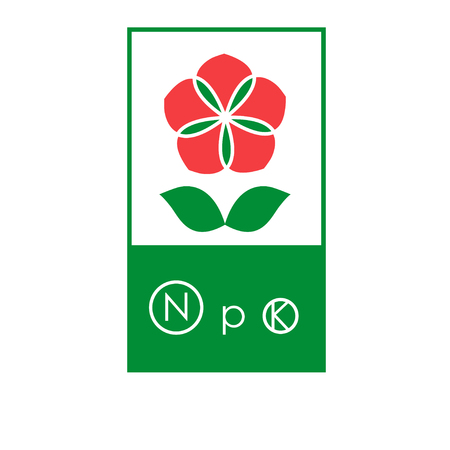 agronomics: Fertilizer label with flower and main macronutrients signs: nitrogen, potassium and phosphorus Illustration