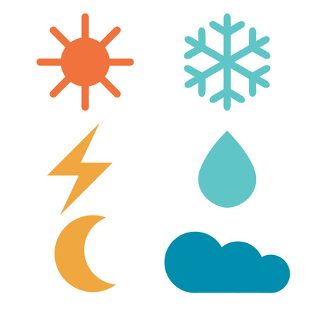 atmospheric: Weather forecast signs: sun, moon, rain, snow, cloud, lightning