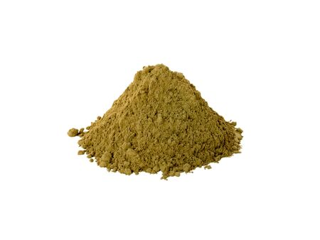 colorant: Henna powder natural hair colorant isolated on white Stock Photo