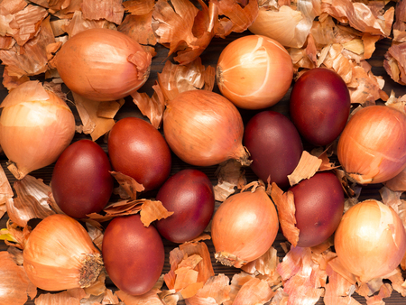 onion peel: Red colored Easter eggs, onions and onion peel