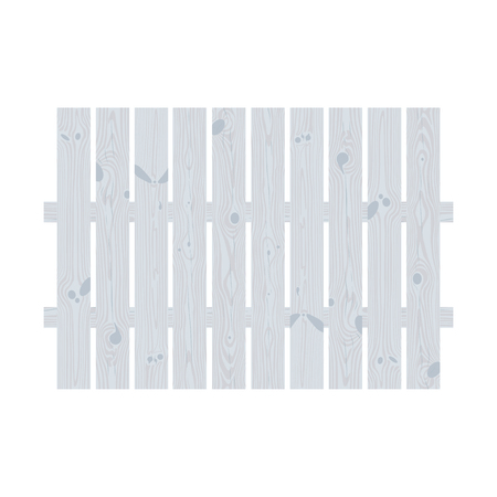 hedge: White wooden decorative cottage garden fence made of rectangular planks Illustration