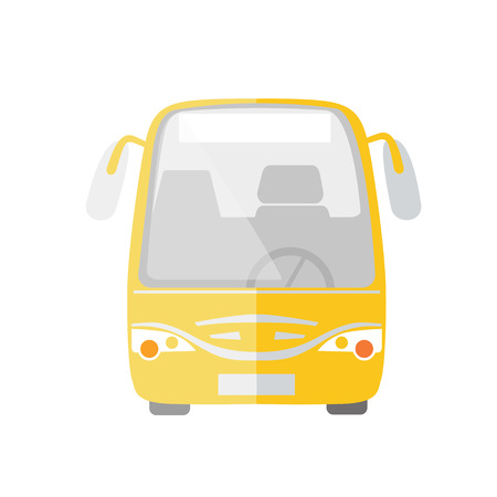 Yellow passenger bus taxi service flat Illustration