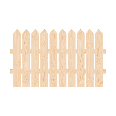 hedges: Natural wooden garden fence made of pointed planks Illustration