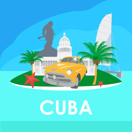 Cuba travel symbols - capitol, old car, palms, starfish, Che Guevara monument