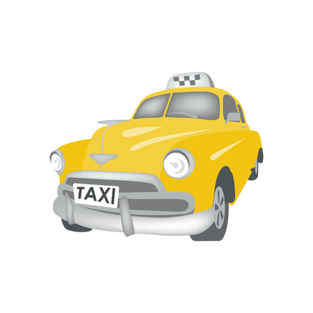 yellow taxi: Yellow taxi service old car illustration