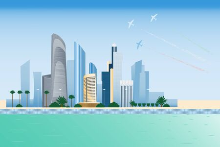 abudhabi: Abu-dhabi cityscape with skyscrapers and planes performing aerobatics illustration