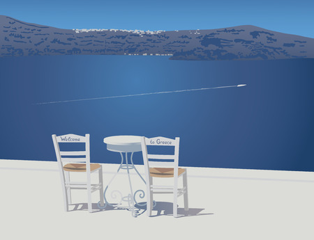 trivet: Two white chairs and trivet table stands on the caldera view tarrace at Santorini island,  Greece, vector illustration Illustration