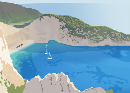 Navagio or Shipwreck beach at the Zakynthos island, Greece, illustration