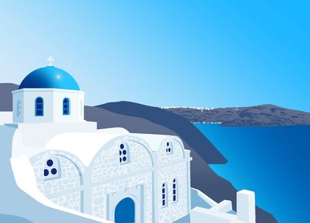 caldera: White church with blue dome at Santorini island, Greece, illustration Illustration
