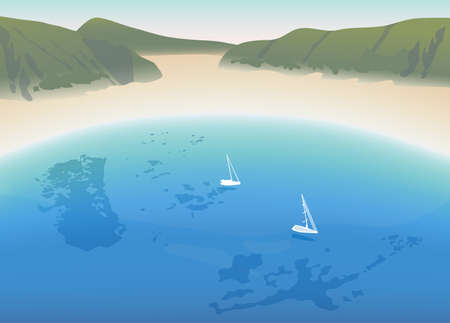 crystal clear: Horseshoe white sandy beach with crystal clear blue sea and mountains illustration