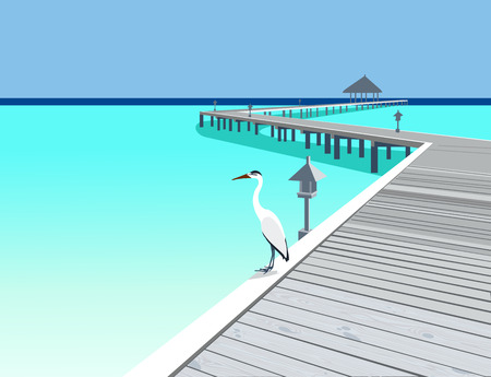 pier: Heron is on the tropical resort wooden pier illustration