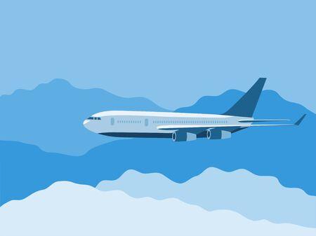 passengers: Big passengers plane fly thru the clouds illustration Illustration