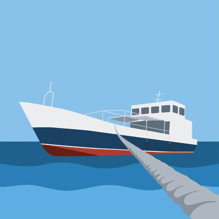 mooring: Boat in the sea moored with rope illustration