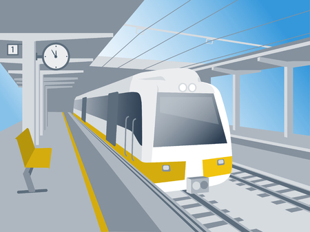 Trein stand op het station te wachten op vertrek illustratie Stock Illustratie