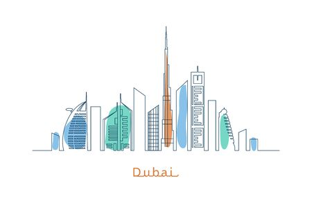 skyscrapers: Dubai cityscape with skyscrapers and landmarks illustration Illustration