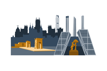 Madrid city landmarks and skyscrapers illustration. Cibeles palace, Bear and strawberry tree, Debod egyptian temple, Cuatro torres skyscrapers.