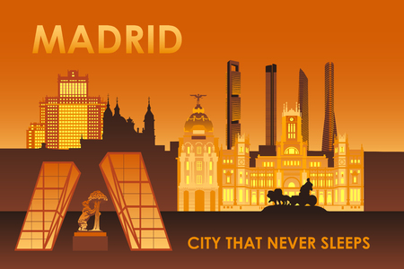 cuatro: Madrid city landmarks at night illustration. Cibeles palace, Bear and strawberry tree, Cuatro torres skyscrapers.