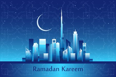 night skyline: Ramadan kareem  meaning Ramadan is generous message on the Dubai city night skyline with moon and stars forming