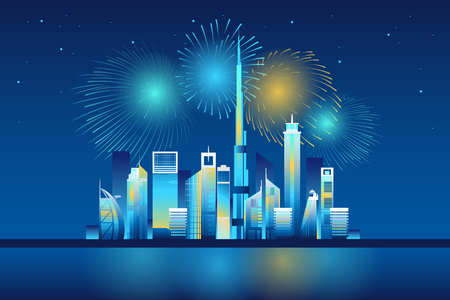 Dubai cityscape with skyscrapers and landmarks and colorful fireworks in the sky illustration