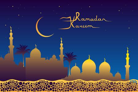 """generoso: Ramadan Kareem significa """"Ramad�n es generosa"""" del mensaje, oro silueta de la mezquita, luna, estrellas en el cielo nocturno y pent�gonos patr�n Vectores"""