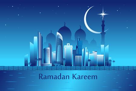 """generoso: Ramadan Kareem significa """"Ramad�n es generoso"""" mensaje en el paisaje urbano de Abu-Dabi con los rascacielos y la ilustraci�n mezquita blanca Vectores"""