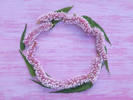 circlet: circlet of pink bistort flowers on the violet rough painted wooden background