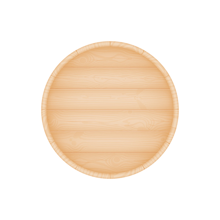 bottom: Natural textured wooden beer oak barrel bottom vector illustration