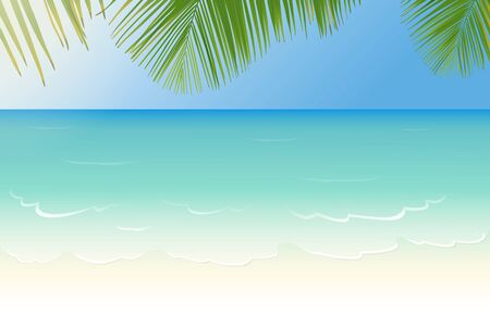 sandy: White sandy beach with crystal clear blue sea and palm tree leaves vector illustration