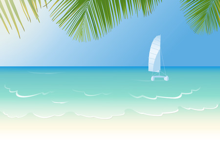 Idyllic white sandy beach lapped by the waves of crystal clear blue sea, catamaran and palm tree leaves vector illustration Illustration