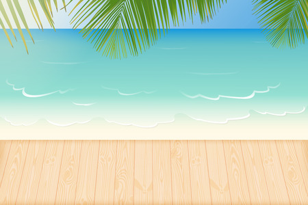 secluded: Paradise white sandy beach lapped by the waves of crystal clear blue sea, natural wooden decking and palm tree leaves vector illustration Illustration