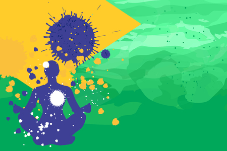 young woman sitting: Young woman sitting in lotus yoga position on the brazil flag colors background  fithess motivation concept vector illustration