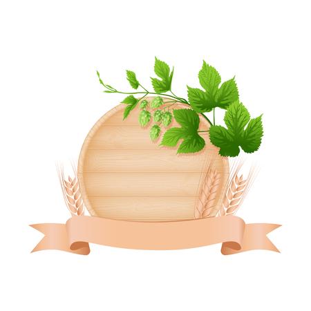plank: Wooden beer oak barrel bottom, hop branch, barley ears and ribbon vector illustration