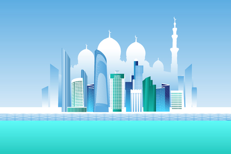 Abu-Dhabi cityscape with skyscrapers and white mosque vector illustration Vetores