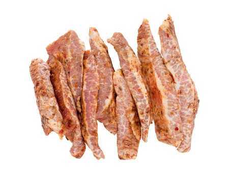 iberico: Secreto iberico spanish pork cuts marinated with spices isolated on white
