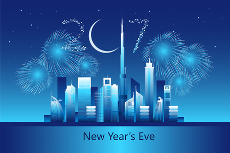 Dubai cityscape with skyscrapers and landmarks and New Year Eve 2017 fireworks in the sky vector illustration