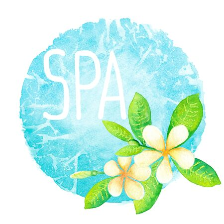 Frangipani flowers and spa lettering on the blue spot background watercolor painting Stock Photo