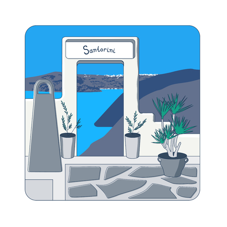 caldera: White gate in the wall and olive trees in the pots at Santorini island in Greecevector illustration Illustration