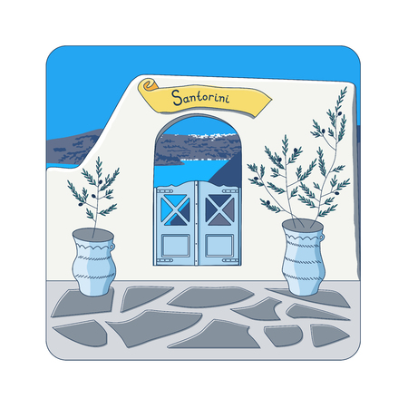 caldera: Blue gate in the wall and olive trees in the pots at Santorini island in Greece vector illustration Illustration