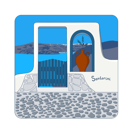 caldera: Blue gate in the wall and olive branch in the vase at Santorini island in Greece vector illustration