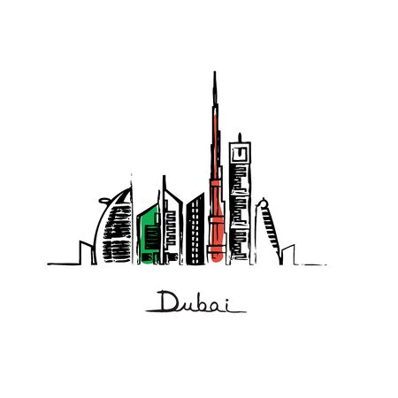 Dubai cityscape with skyscrapers and landmarks flag colors vector illustration Illustration