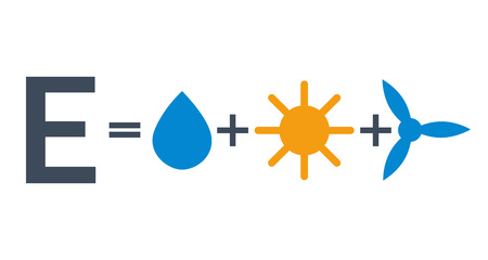 Eco safe energy sources formula: sum of water sun and wind vector illustration