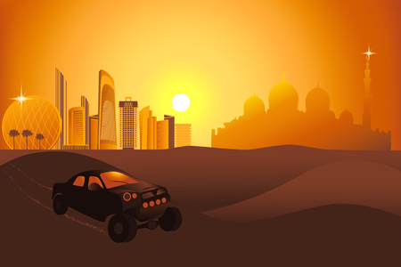 Safari cars at the sunset in the desert near the Abu-Dhabi city vector illustration