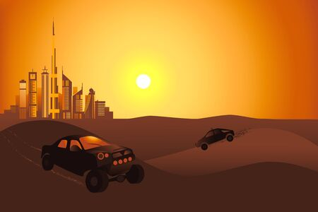 Safari cars at the sunset in the desert on the Dubai city background vector illustration