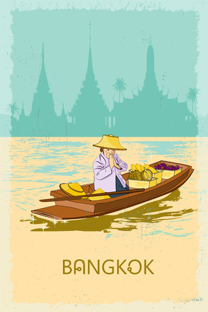 wat: Woman vendor in the boat on the canal in Bangkok welcome tourists to Thailand - the land of smiles. Retro poster. Illustration
