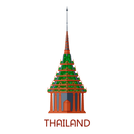 Emerald buddhist wat temple in Bangkok Thailand travel landmark vector illustration Illustration