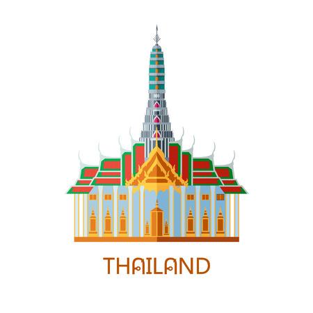 Buddhist wat temple in Bangkok Thailand travel landmark vector illustration