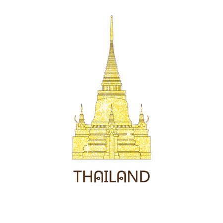 Buddhist wat temple in Bangkok Thailand on the golden glitter travel landmark vector illustration